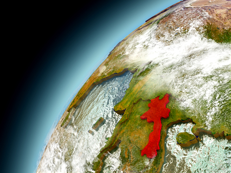 Laos as seen from orbit on model of Earth. 3D illustration with atmosphere and reflective ocean waters.