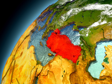 Turkey as seen from orbit on model of Earth. 3D illustration with atmosphere and reflective ocean waters. Elements of this image furnished by NASA.