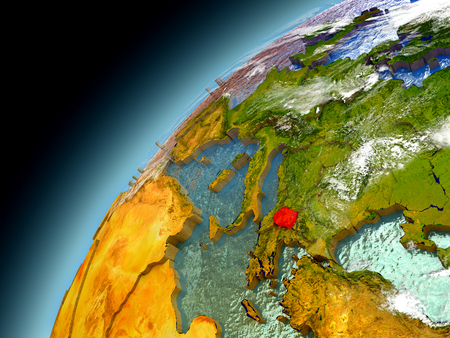 Macedonia as seen from orbit on model of Earth. 3D illustration with atmosphere and reflective ocean waters.