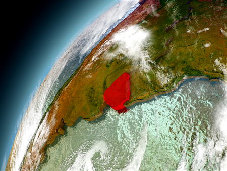 Uruguay as seen from orbit on model of Earth. 3D illustration with atmosphere and reflective ocean waters.