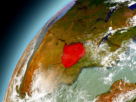 Zimbabwe as seen from orbit on model of Earth. 3D illustration with atmosphere and reflective ocean waters. Stock Photo