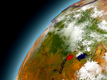 Burundi as seen from orbit on model of Earth. 3D illustration with atmosphere and reflective ocean waters.