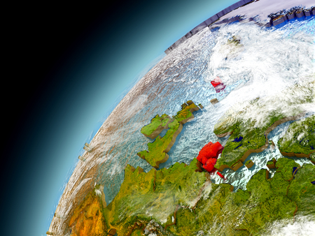 Denmark as seen from orbit on model of Earth. 3D illustration with atmosphere and reflective ocean waters. Stock Photo