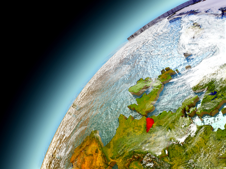 Belgium as seen from orbit on model of Earth. 3D illustration with atmosphere and reflective ocean waters.