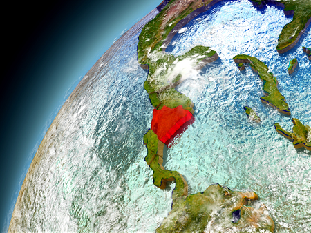 nicaragua: Nicaragua as seen from orbit on model of Earth. 3D illustration with atmosphere and reflective ocean waters.