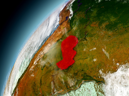 Paraguay as seen from orbit on model of Earth. 3D illustration with atmosphere and reflective ocean waters. Stock Photo