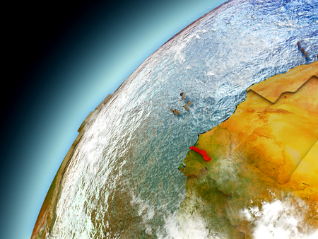 gambia: Gambia as seen from orbit on model of Earth. 3D illustration with atmosphere and reflective ocean waters.