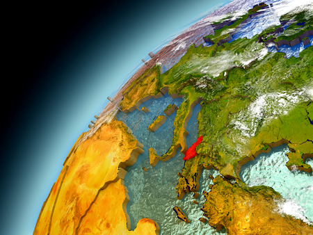 Albania as seen from orbit on model of Earth. 3D illustration with atmosphere and reflective ocean waters. Stock Photo