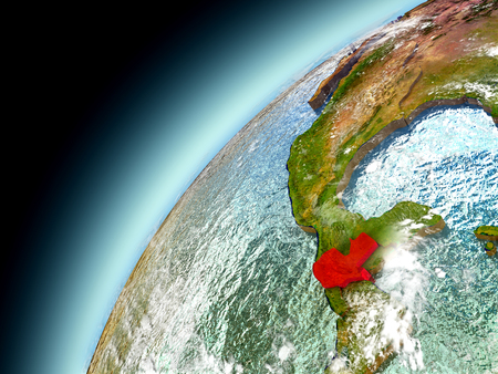 Guatemala as seen from orbit on model of Earth. 3D illustration with atmosphere and reflective ocean waters. Elements of this image furnished by NASA. Stock Photo