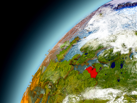 Latvia as seen from orbit on model of Earth. 3D illustration with atmosphere and reflective ocean waters. Elements of this image furnished by NASA.