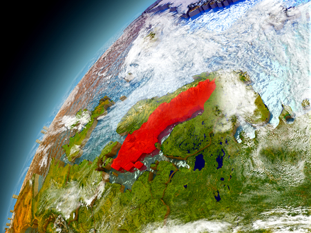 Sweden as seen from orbit on model of Earth. 3D illustration with atmosphere and reflective ocean waters. Elements of this image furnished by NASA.