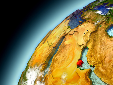 Qatar as seen from orbit on model of Earth. 3D illustration with atmosphere and reflective ocean waters. Stock Photo