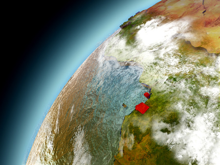 Equatorial Guinea as seen from orbit on model of Earth. 3D illustration with atmosphere and reflective ocean waters.