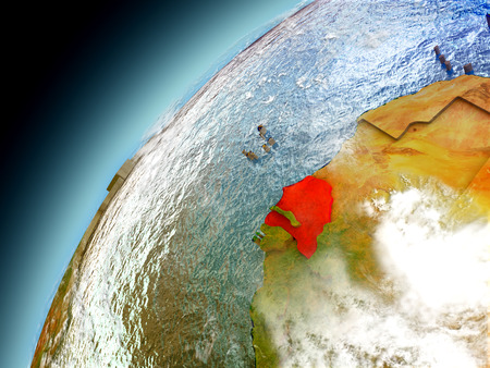 Senegal as seen from orbit on model of Earth. 3D illustration with atmosphere and reflective ocean waters.