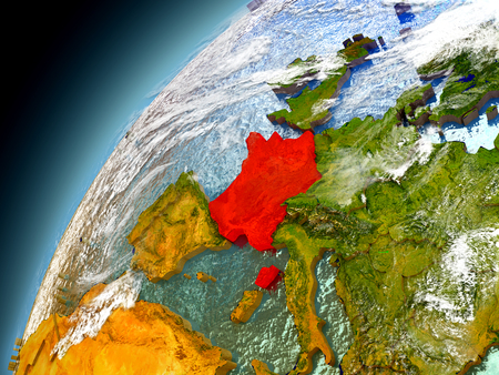 France as seen from orbit on model of Earth. 3D illustration with atmosphere and reflective ocean waters. Stock Photo