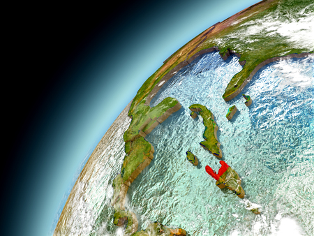 Haiti as seen from orbit on model of Earth. 3D illustration with atmosphere and reflective ocean waters. Stock Photo