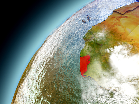 Liberia as seen from orbit on model of Earth. 3D illustration with atmosphere and reflective ocean waters. Stock Photo