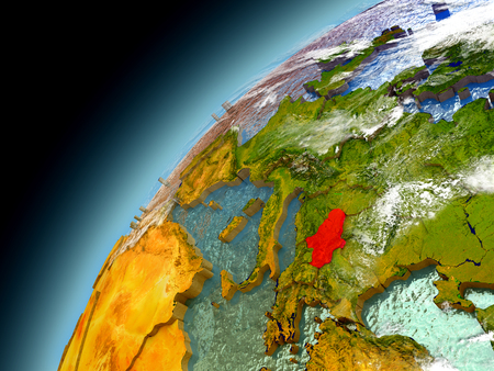 Serbia as seen from orbit on model of Earth. 3D illustration with atmosphere and reflective ocean waters.