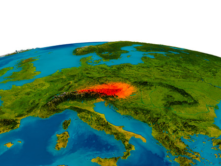 Austria highlighted in red on detailed model of planet Earth. 3D illustration.
