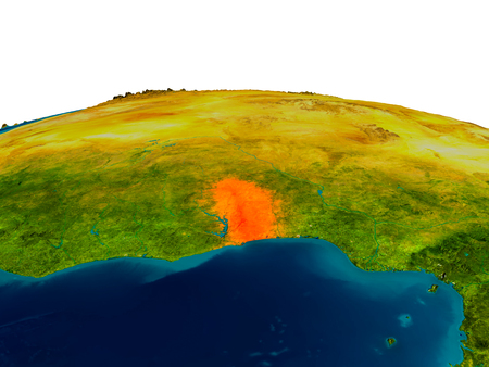 Togo highlighted in red on detailed model of planet Earth. 3D illustration.