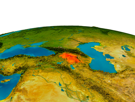 Armenia highlighted in red on detailed model of planet Earth. 3D illustration.