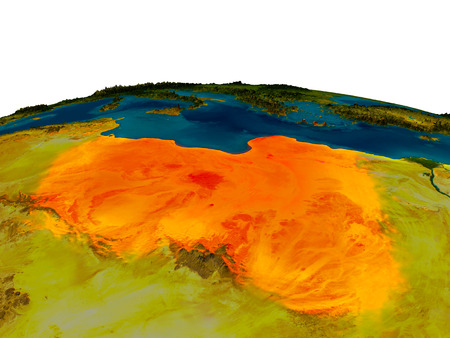 Libya highlighted in red on detailed model of planet Earth. 3D illustration.