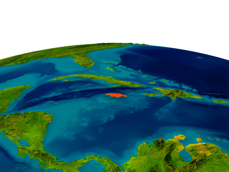 jamaican: Jamaica highlighted in red on detailed model of planet Earth. 3D illustration.