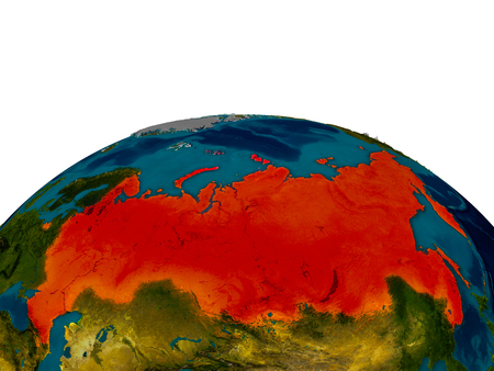 Russia highlighted in red on detailed model of planet Earth. 3D illustration.
