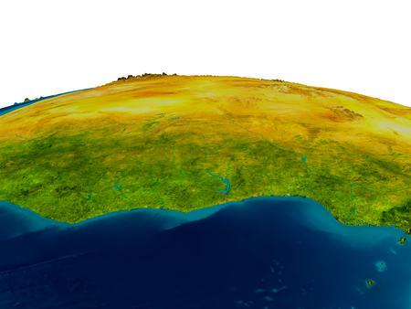 Ghana highlighted in red on detailed model of planet Earth. 3D illustration. Stock Photo