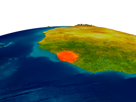 Sierra Leone highlighted in red on detailed model of planet Earth. 3D illustration.