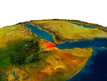 physical geography: Djibouti highlighted in red on detailed model of planet Earth. 3D illustration. Stock Photo