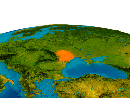 Moldova highlighted in red on detailed model of planet Earth. 3D illustration. Stock Photo