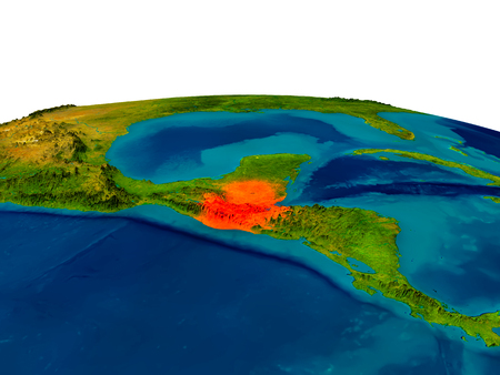 guatemalan: Guatemala highlighted in red on detailed model of planet Earth. 3D illustration.