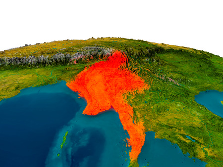 Myanmar highlighted in red on detailed model of planet Earth. 3D illustration.