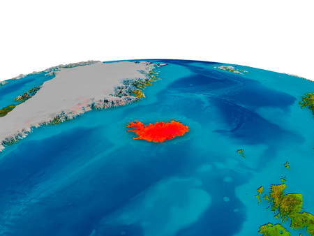 Iceland highlighted in red on detailed model of planet Earth. 3D illustration. Stock Photo