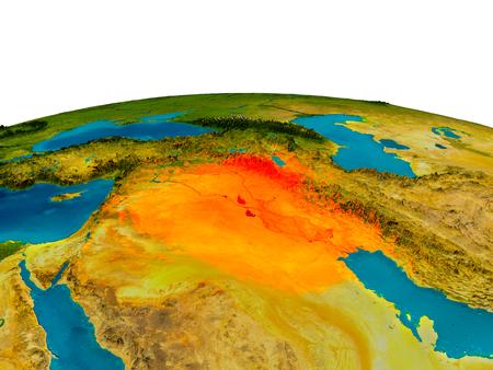 Irak benadrukte in rood op gedetailleerd model van de planeet Aarde. 3D illustratie.