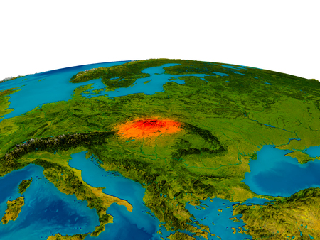 Slovakia highlighted in red on detailed model of planet Earth. 3D illustration. Elements of this image furnished by NASA.