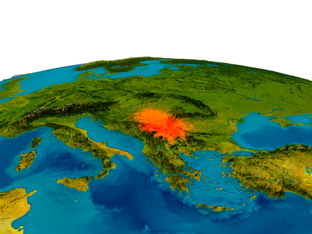 Serbia highlighted in red on detailed model of planet Earth. 3D illustration.