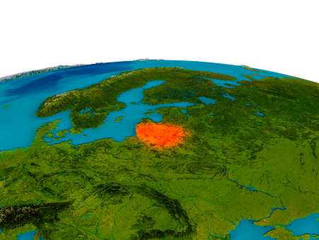 Lithuania highlighted in red on detailed model of planet Earth. 3D illustration.