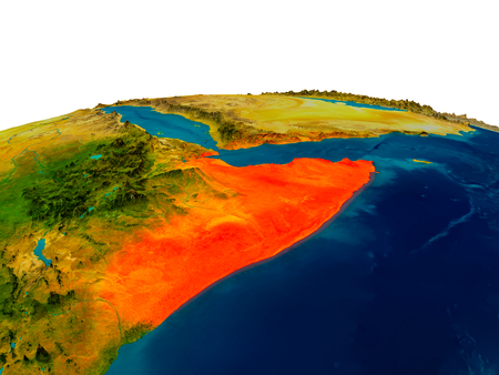 Somalia highlighted in red on detailed model of planet Earth. 3D illustration.