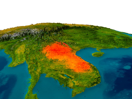 laotian: Laos highlighted in red on detailed model of planet Earth. 3D illustration.