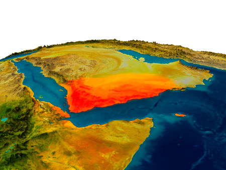 Yemen highlighted in red on detailed model of planet Earth. 3D illustration. Stock Photo