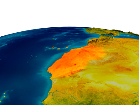 physical geography: Western Sahara highlighted in red on detailed model of planet Earth. 3D illustration. Stock Photo