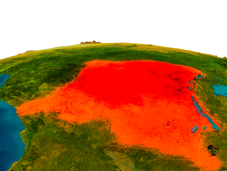 physical geography: Democratic Republic of Congo highlighted in red on detailed model of planet Earth. 3D illustration.