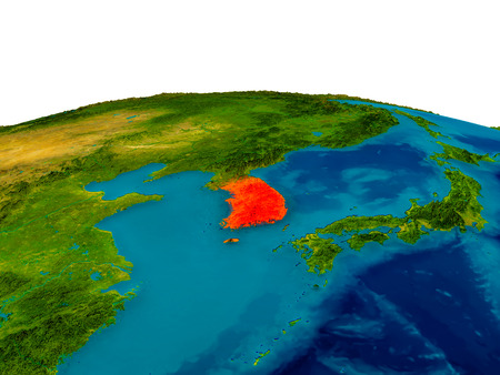 republic of korea: South Korea highlighted in red on detailed model of planet Earth. 3D illustration.