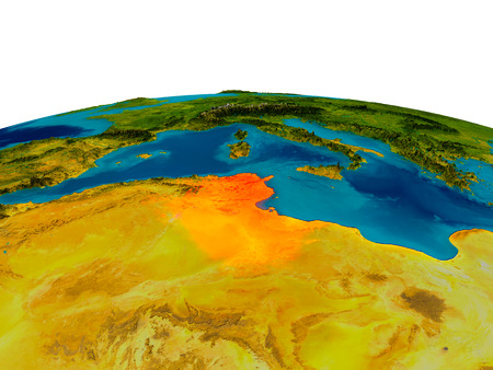 Tunisia highlighted in red on detailed model of planet Earth. 3D illustration. Фото со стока