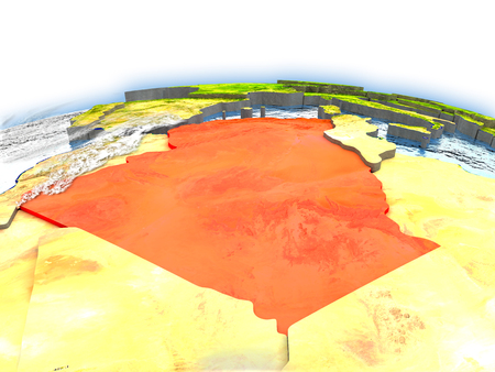 Country of Algeria on model of Earth. 3D illustration. Elements of this image furnished by NASA.