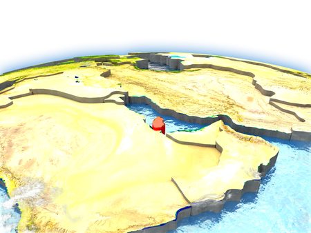 Country of Qatar on model of Earth. 3D illustration. Stock Illustration - 77590408