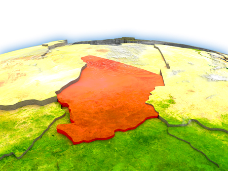 Country of Chad on model of Earth. 3D illustration. Elements of this image furnished by NASA. Stock Photo