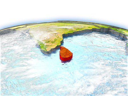Country of Sri Lanka on model of Earth. 3D illustration. Elements of this image furnished by NASA.